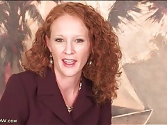 Skinny redhead secretary chats and strips naked tubes