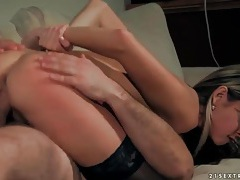 Cutie rides old man cock in stockings tubes