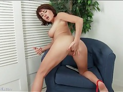 Naked girl with big titties fingers her tight cunt tubes