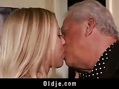 Old perverts seduced by horny blonde tubes