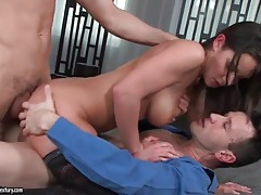 Dp sex scene with two cumshots flying tubes