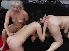 Lesbians lick assholes in mature threesome tubes