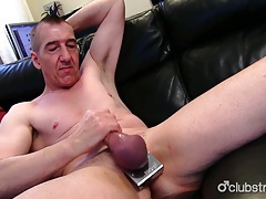 Pierced straight marc jerking off his pecker tubes