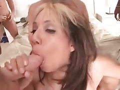 Hot gangbang with asian doing double penetration tubes