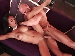 Fit and busty asian fucked in her shaved cunt tubes