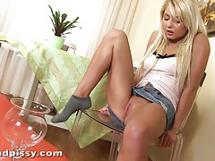 Grace strips and pisses hard tubes