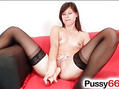 Euro cutie in black stockings masturbates tubes