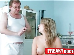Naked girl rubbed and fingered by her doctor tubes