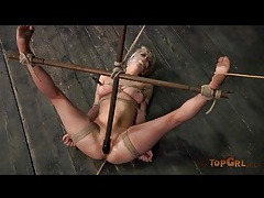Real pain makes bound blonde girl cry tubes