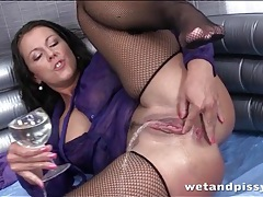 Messy piss play with hot girl in fishnet stockings tubes