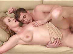 Hot pounding of big tits slut with curly hair tubes