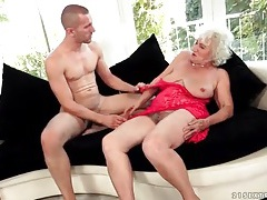 Granny in red lace eaten out by eager guy tubes