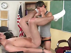 Tight twink asshole fucked on desk in class tubes