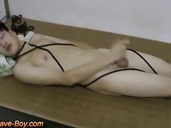 Smooth asian boy slave making cumshot tubes