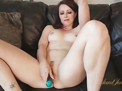 Cute milf in red lipstick fucks a dildo tubes