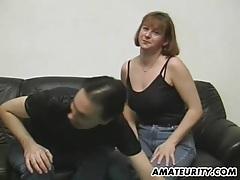 Amateur couple doing it for a casting tubes