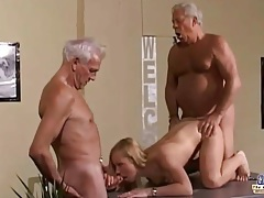 Young nympho girl gets her pussy fucked hard by two old men tubes