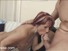 Slender mom gives blowjob to a thick cock tubes