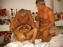 Old guys fool around with mature in oral threesome tubes