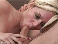 Blonde cocksucker sits on that dick and rides tubes