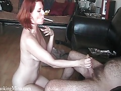 Naked milf redhead smokes and sucks his big cock tubes