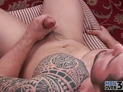 Great tattoo on solo masturbating guy tubes