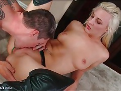 Blonde in sexy leather boots gives a blowjob tubes