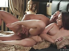 Banging shaved girl and cumming on her feet tubes