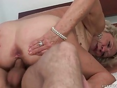 Granny kisses young guy as they fuck tubes