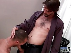 Hard body hot guy gets a blowjob at work tubes