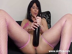 Wine bottle and monster dildo fucking amateur milf tubes
