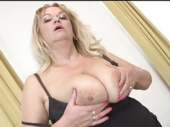 Fat older blonde fondles her big natural tits tubes