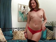 Lace top looks sexy on sweet smiling milf chick tubes