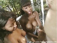 Two black girls jerk white cock tubes