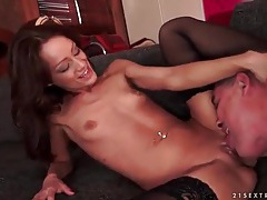 Stocking footjob arouses him for a hot fuck tubes