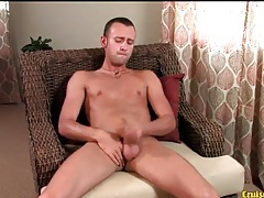 Skinny tanned guy strokes his boner solo tubes