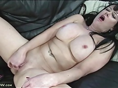 Naked girl with big tits fingers her hot cunt tubes