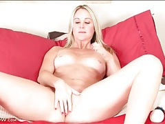 Alina annelise strips from lingerie and masturbates tubes