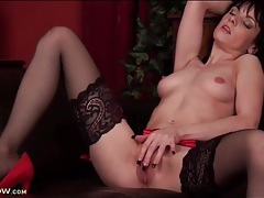 Masturbating beauty with long black fingernails tubes