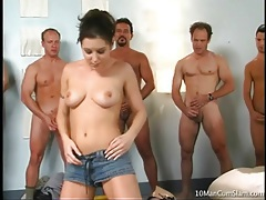 Beautiful ariana jollee sucks ten hard dicks tubes