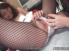 Ripping open her fishnets and eating her pussy tubes