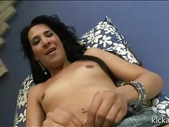Tranny has a sexy cock behind her panties tubes