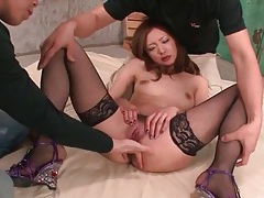 Japanese slut in fishnet stockings finger banged tubes