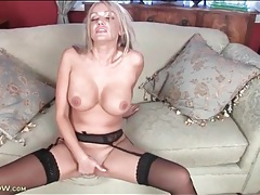 Stockings and high heels honey fingers her cunt tubes