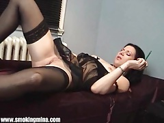Perfect sheer black lingerie on smoking girl tubes