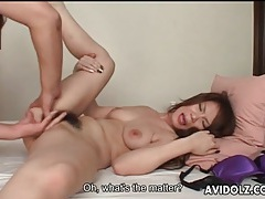 Japanese babe with hairy pussy finger fucked tubes