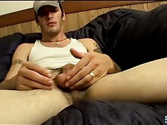 Hot cock and balls on solo stroking guy tubes