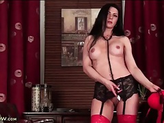 Sexy lady doctor strips to model her lingerie tubes