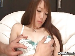 Delicate satin and lace lingerie on japanese girl tubes