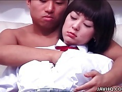 He fondles and kisses japanese schoolgirl tubes